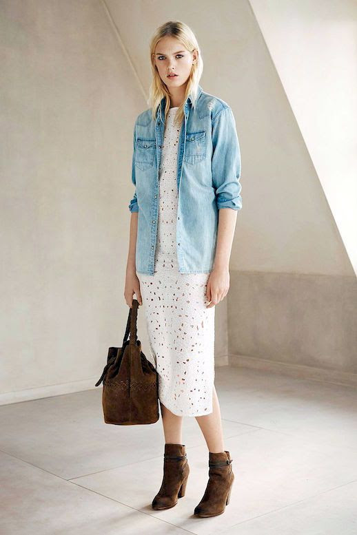 Le Fashion Blog Western Inspired Look Denim Button Down Shirt White Eyelet Midi Dress Brown Suede Ankle Boots Via All Saints