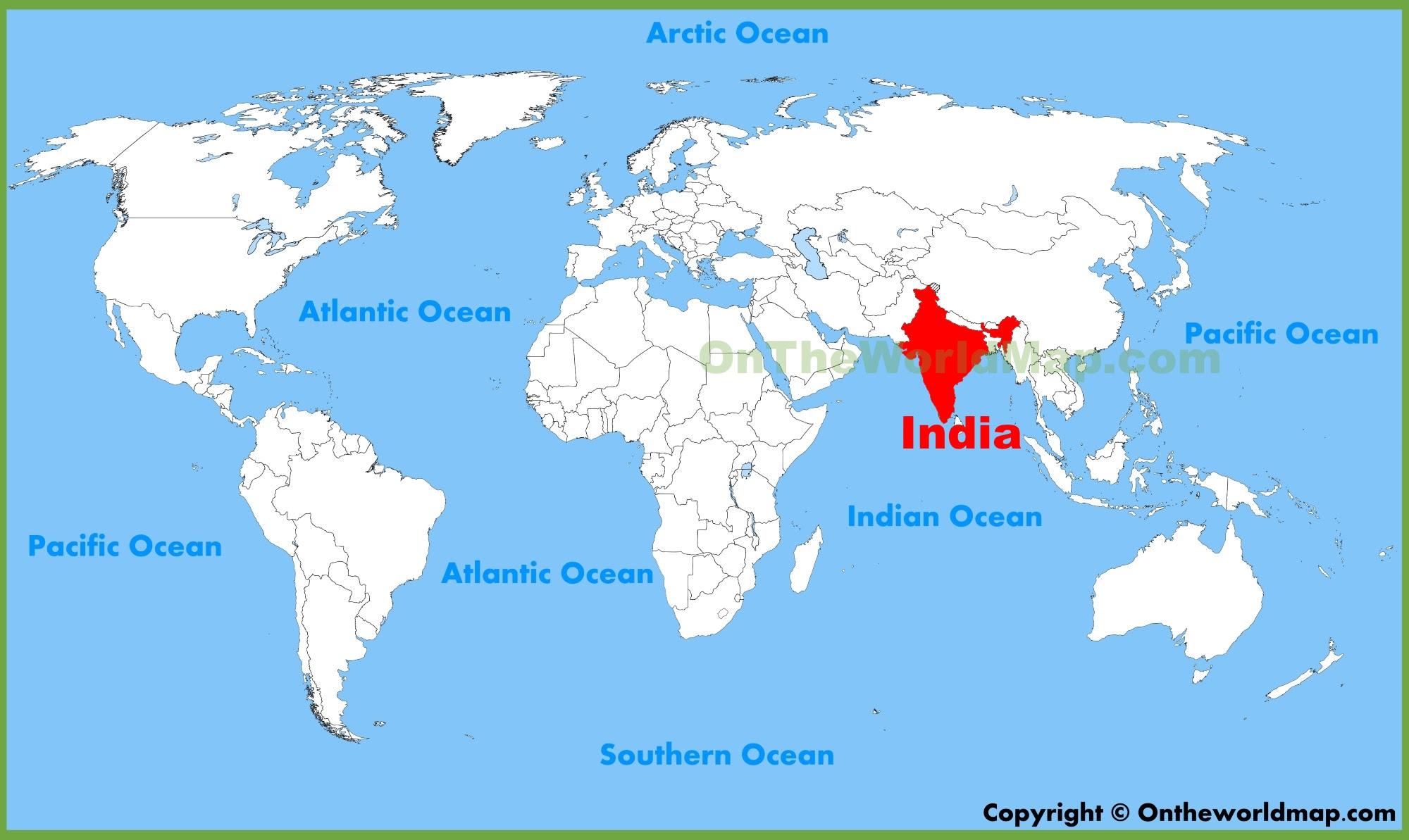 India On A World Map India On A World Map