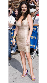 Catherine Zeta Jones wearing Herve Leger bandage dress