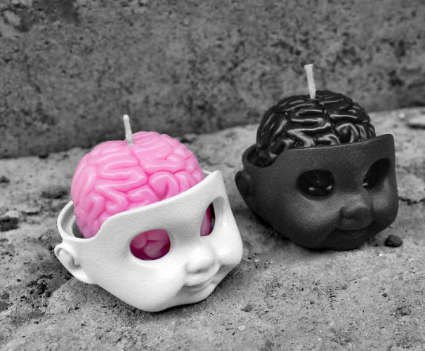 Brain Candle With Baby Head Candle-holder