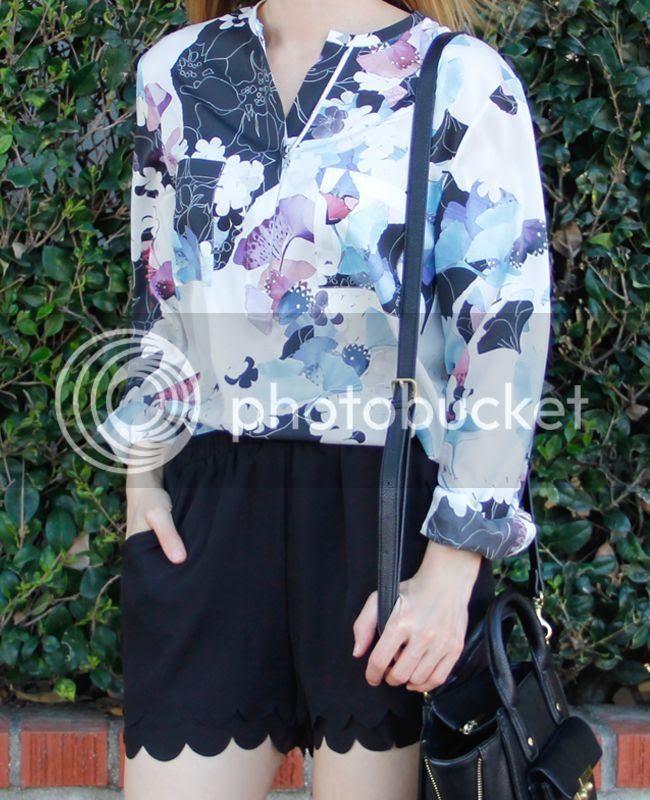 3.1 Phillip Lim patchwork floral silk blouse, LC Lauren Conrad scalloped edge shorts