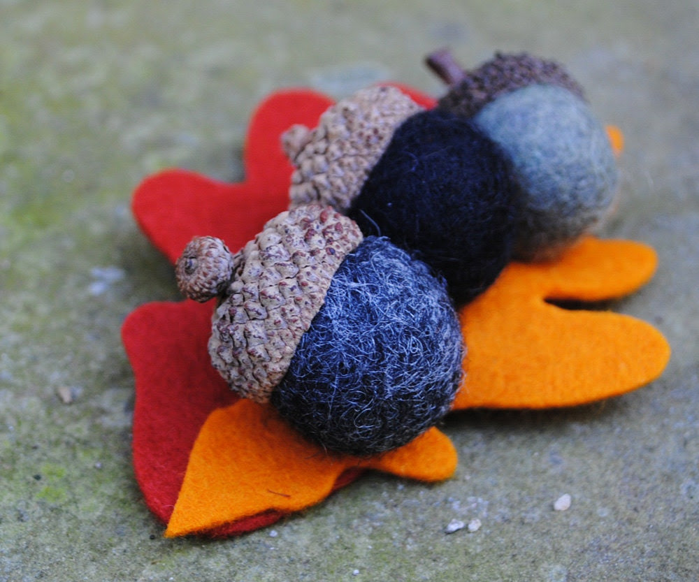 Felted Acorn Autumn Leaf Pin in Black  - My Acorn Pins were featured on ETSY'S FRONT PAGE - angeldogdesigns