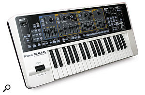 The output of most synths and keyboards like this Roland Gaia, for example, will work fine with most audio interface line inputs, without the need for aDI box.