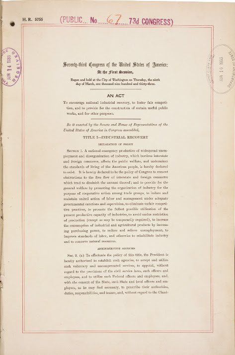 The National Industrial Recovery Act