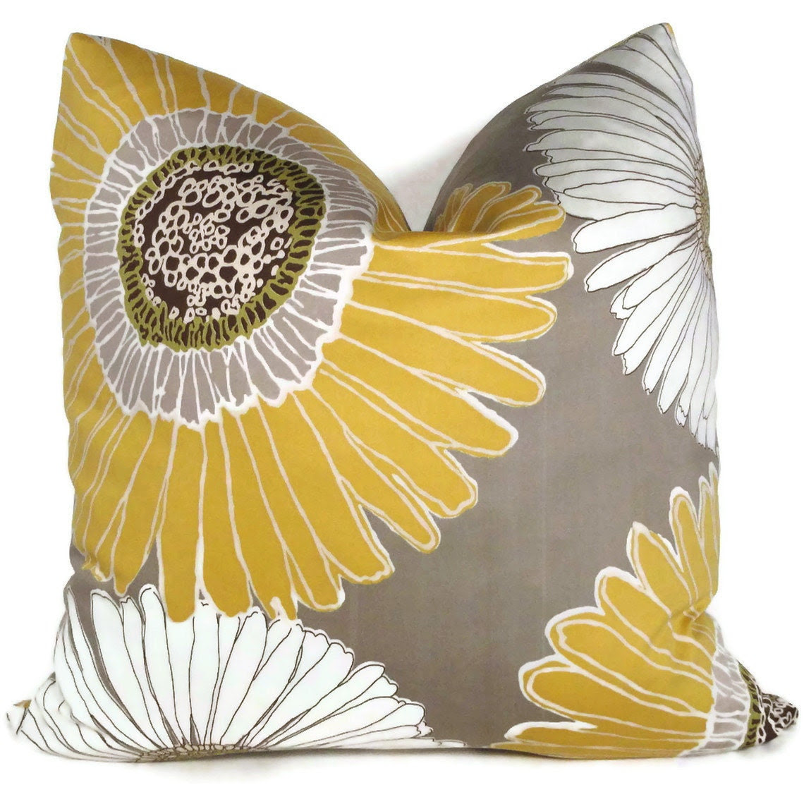 Duralee Yellow and Gray Decorative Pillow Cover 18x18 by PopOColor