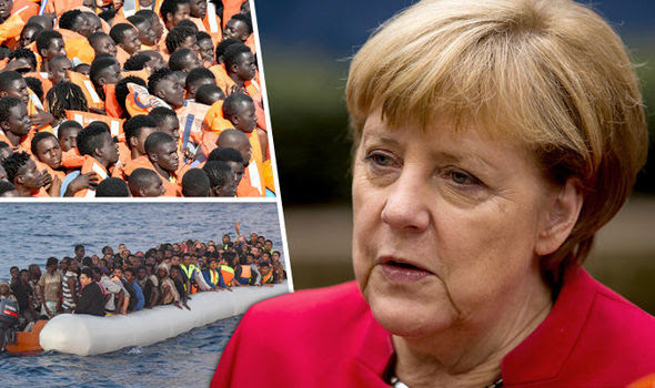 Migrants on a boat, left, and Angela Merkel, right