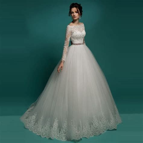 Civil Puffy Wedding Dress Turkey 2016 Vintage Lace Long
