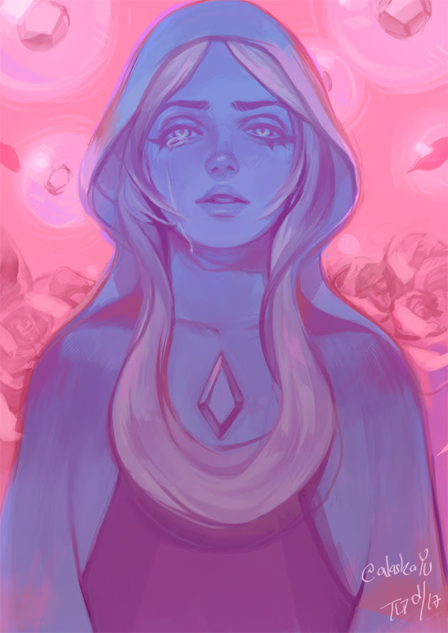 Blue Diamond from Steven Universe. Yes, she finally showed her face! I love her droppy eyes. 8′D My mind directly came up with a colour-concept. Nice contrast with pink and blue. I've r...