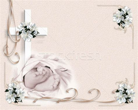 Baby Christening invitation background stock photo