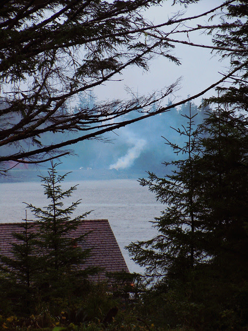 smoke from burning debris, Kasaan, Alaska