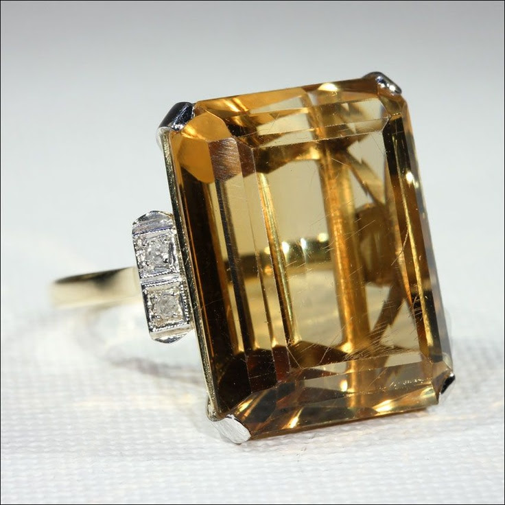 Fabulous Retro 26+ Carat Citrine and Diamond Cocktail Ring, 18k and from vsterling on Ruby Lane