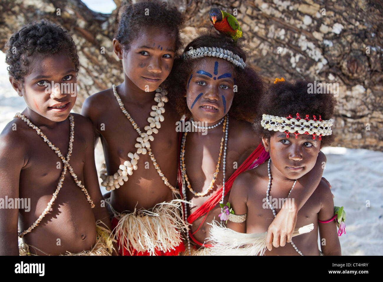 Indonesia, Papua New Guinea, Nuana Island. Young children in Stock Photo, Royalty Free Image