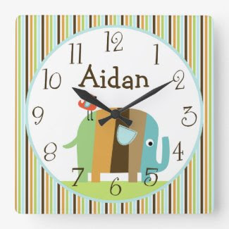 Personalized Striped Zutana African Elephant Clock