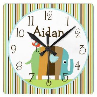 Personalized Striped Zutana African Elephant Clock