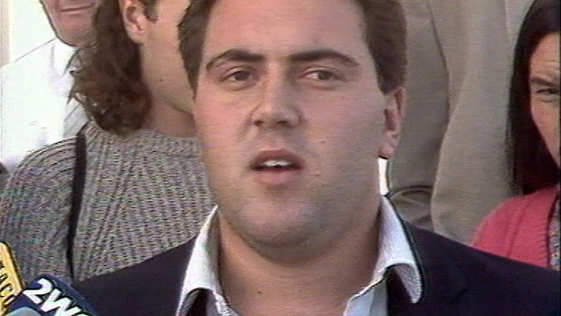 The student Joe Hockey addresses the media in 1987, while protesting against a new university fee.