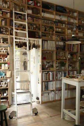 At least one wall FLOOR to CIELING shelves and nooks [artist studio]