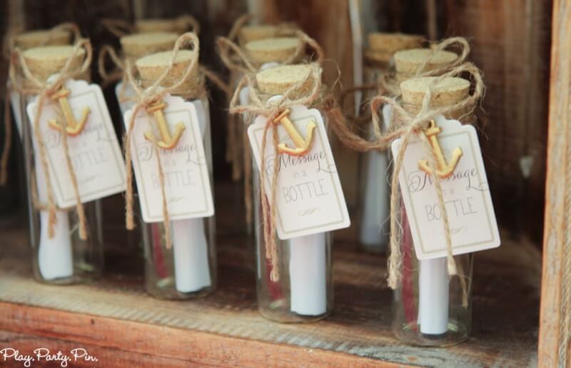 Love these nautical party game ideas, this guess the message in the bottle one sounds so cute!