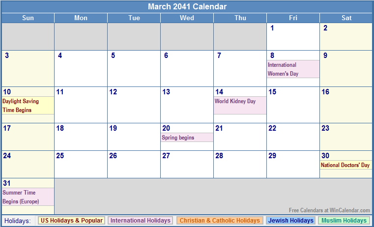 March 2017 Calendar Holidays – 2017 March Calendar