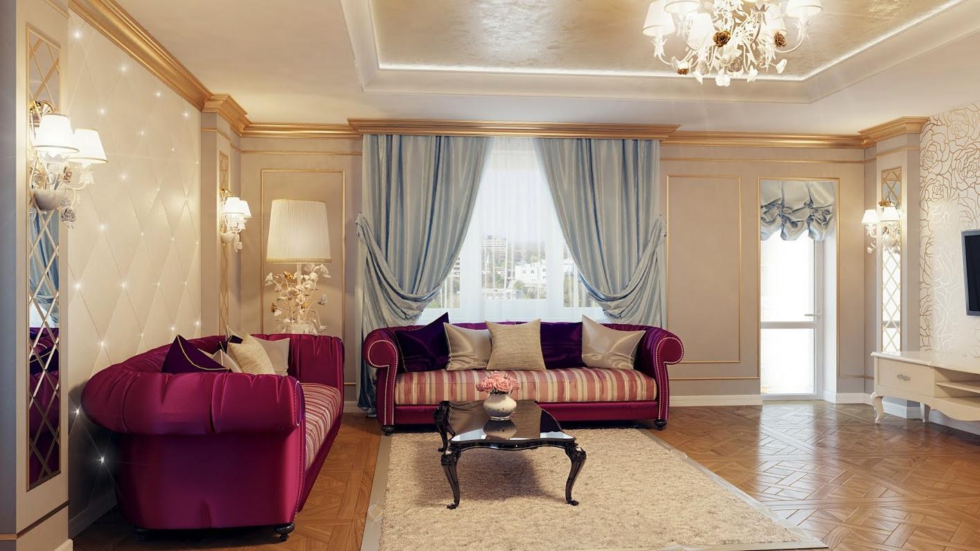 Regal Purple Blue Living Room Decorinterior Design Ideas
