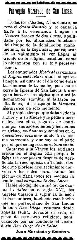 Diario El Castellano de Toledo, 4 de febrero de 1911. Artículo sobre la iglesia de San Lucas de Juan Moraleda y Esteban