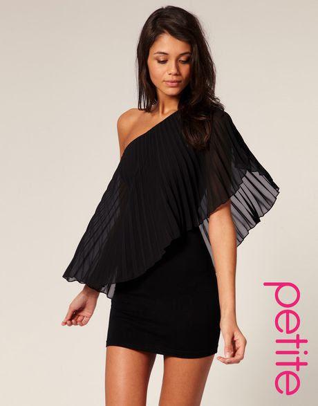 Mini black shoulder bodycon one pleated dress store