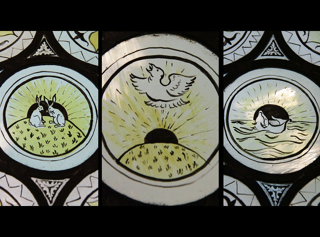 Stained glass detail - collage - Morris Room