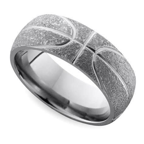 Stipple Finish Basketball Pattern Men's Wedding Ring in