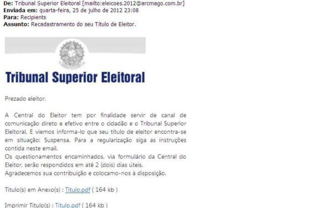 Justiça Eleitoral alerta para golpe virtual que usa o nome do TSE em e-mail falso Reprodução//