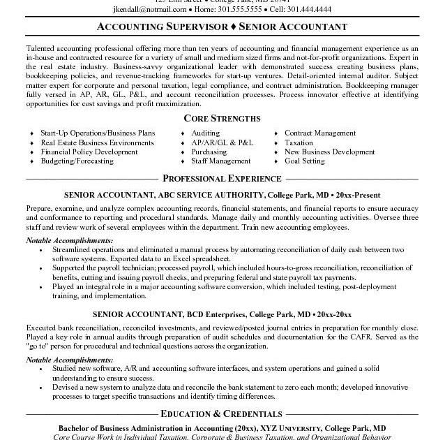 senior accountant accountant resume sample pdf  best