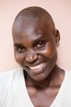 A bald woman