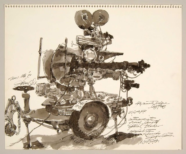ink wash sketch of tv camera on a wheeled carriage