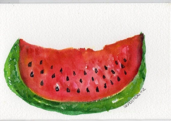 etsy artist Sharon Foster watercolor watermelon