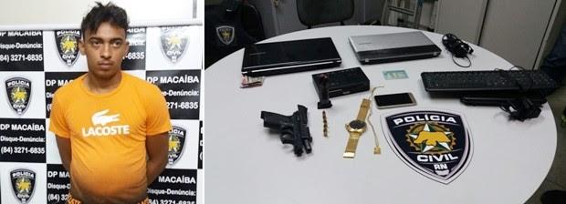 Francisco Alef Guedes de Lima foi preso com arma roubada, segundo a polícia (Foto: Polícia Civil/Divulgação)