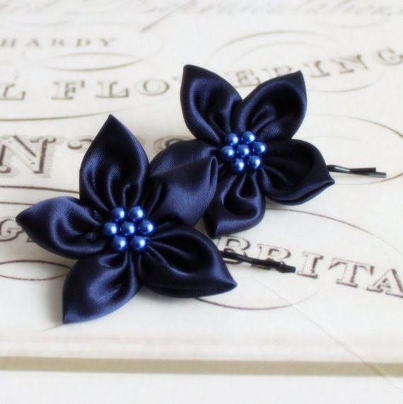 2 Navy Bridal Bobby Pins with Pearls and 5 Petal Satin Flowers