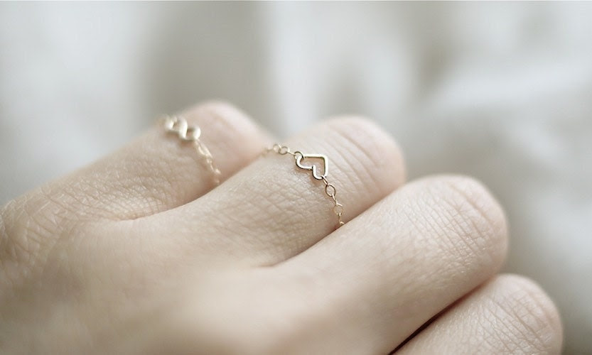 LOVE RING: Tiny Heart Chain Ring (Gold Filled)