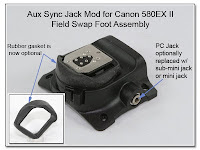 AS1026: Aux Sync Jack Mod for Canon 580EXII - Field Swap Foot Assembly - with Optional Rubber Gasket