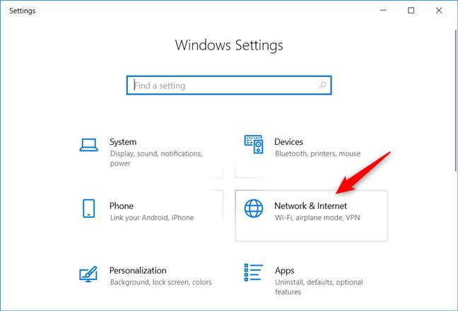 La categoría Red e Internet de la Configuración de Windows 10