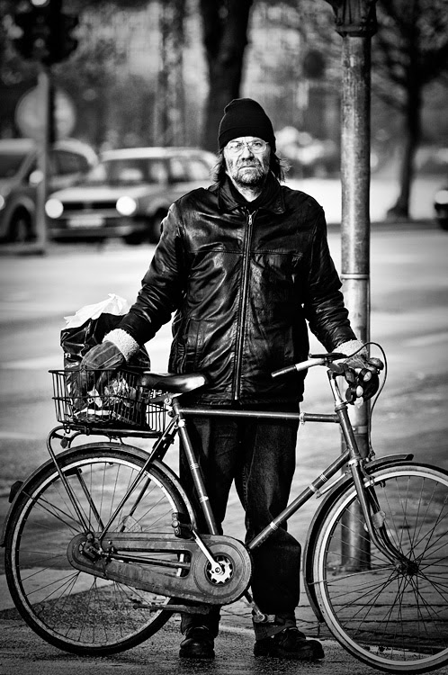 Biker in the streets of Copenhagen