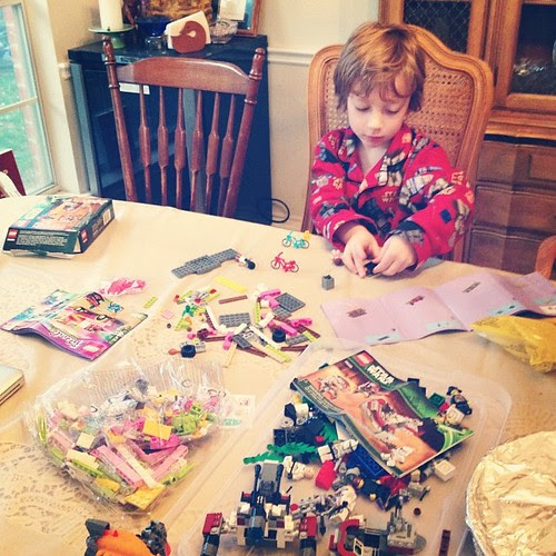 Somebody's been a lego-building fiend this morning- a couple lego star wars sets + the lego friends camper van set he's wanted since forever and Aunt @c4shay managed to find for him. #legolove #squeewoot