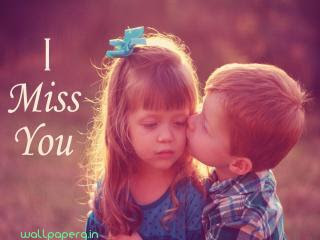 Download I Miss You Hd Wallpapers Images With Small Boy Kissing Girl