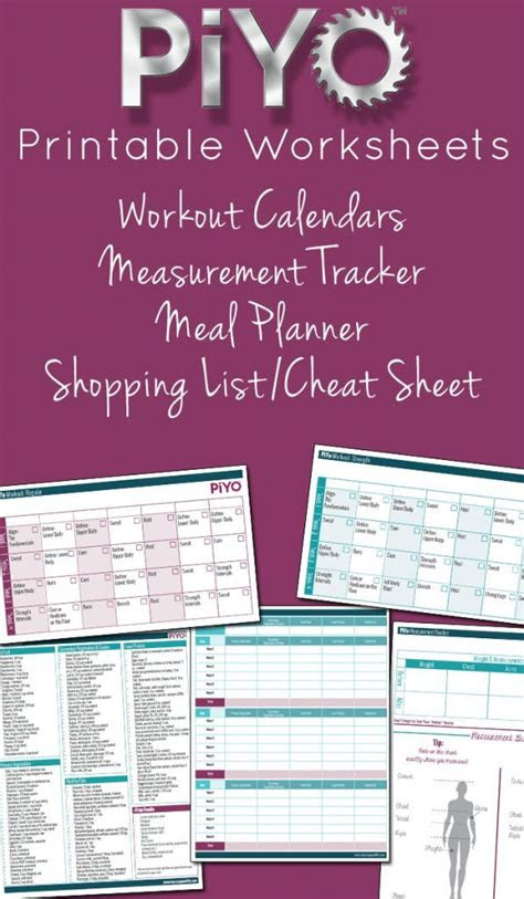 piyo printable worksheets  workouts meal tracking
