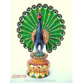 Home decor handicrafts peacock painted 6 inches online shopping india buy handicrafts - Home decor items online shopping ...
