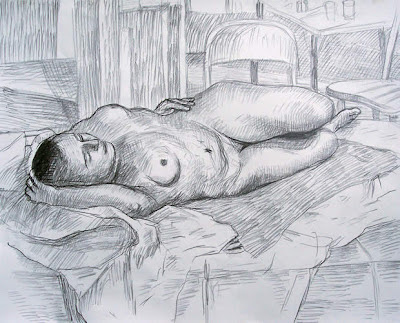 life drawing reclining nude