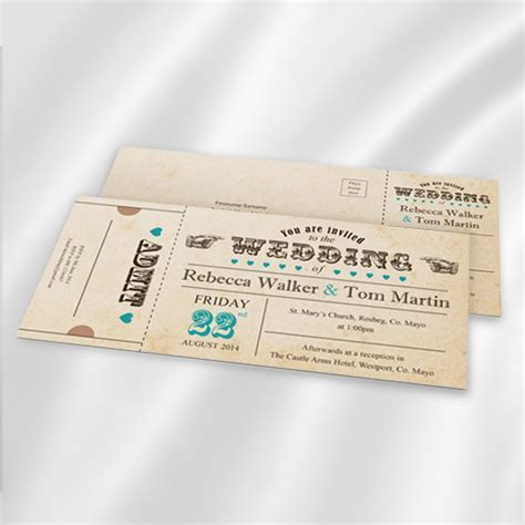 Carnival Ticket Wedding Invitation Ireland   WeddingPrint