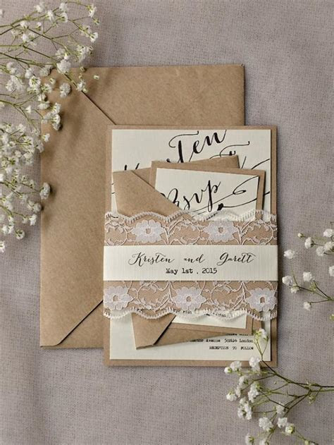 Rustic Lace Wedding Invitations (20), Calligraphy Wedding