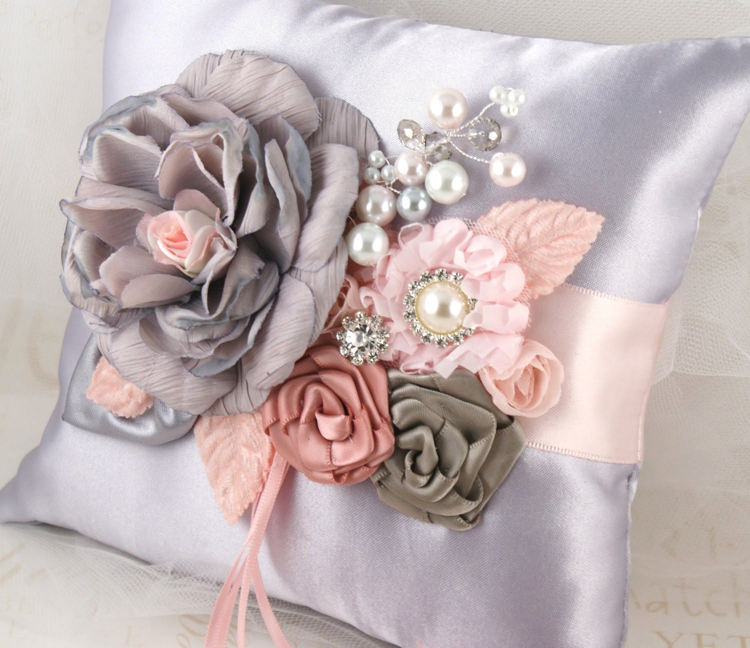 Bridal Ring Bearer Pillow with Silk and Satin Flowers, Pearls, Crystals and Jewels - So Romantic