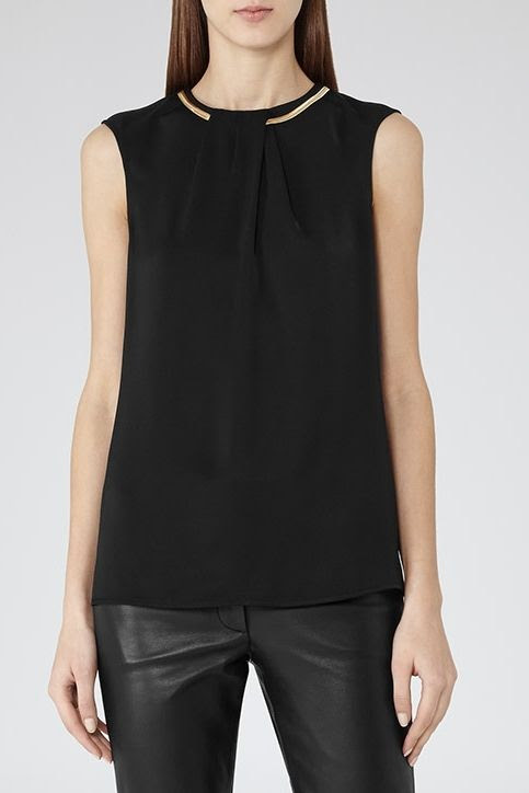 REISS Sapela Chain Neck Top