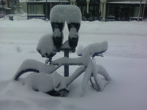 Bicycle covered in snow snOMG