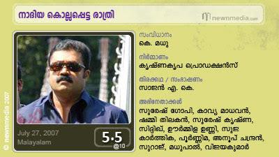 Nadiya Kollappetta Rathri, Train Murder, Suresh Gopi, K. Madhu, Kavya Madhavan, Siddique, Souparnika Express, Detective, Crime, Double Role, Malayalam Film Review, Cinema, Movie, July Release.