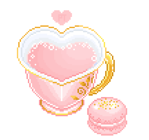 strawberry milk tea & macaron ♥